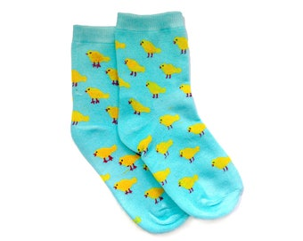 Hand-printed socks [angry canaries], one size