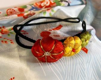 Green yellow red flower headband in Tsumami Kanzashi