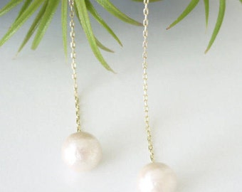 Cotton pearl earrings, Pearl earrings, Invisible clip on earrings, Resin clip on earrings, Gold earrings, Chain earrings, White earrings,