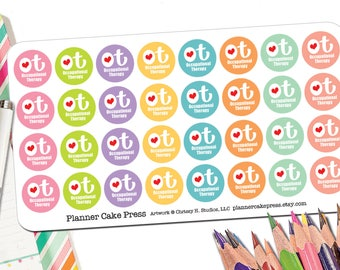 Occupational Therapy Stickers | OT Planner Stickers | Occupational Therapy Gifts | OT Gifts | Occupational Therapist Round Hearts Fits ECLP