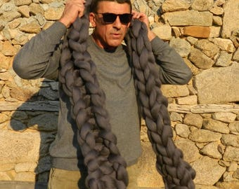 Oversize Merino Knit Scarf. Chunky Wool Scarf. Bulky Mens Scarf. Tick Scarf. Giant Super Chunky Scarf.  Gift for Him. Valentine's Day gift.