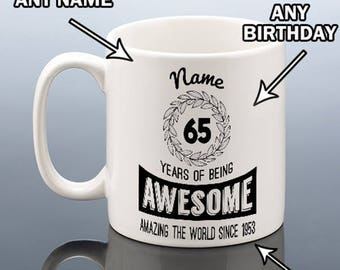 16th 18th 30th 40th 50th 60th 70th BIRTHDAY MUG Personalised Cup Years Awesome 1958 1968 1978 1988 2000 Birthday Gift for Men Him Her Women