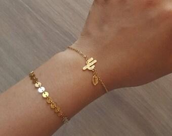 Delicate Petite Cactus Bracelets,Delicate Cactus Bracelet,tree bracelet,Wedding bracelet,Bridesmaid gift,initial bracelet, Layering Bracelet