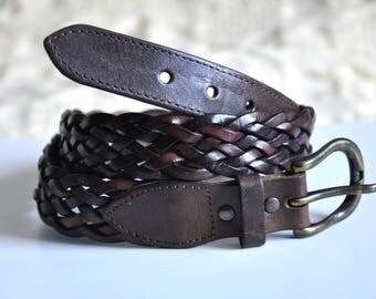 VIntage 90s brown leather belt, woven leather belt, braided belt, genuine leather belt, high waist belt, 75 cm