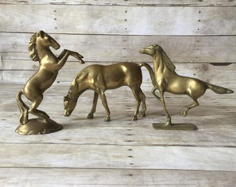 Vintage Brass Set of Horse Figurine Statues - Boho Mid Century Modern Hollywood Regency Home Decor