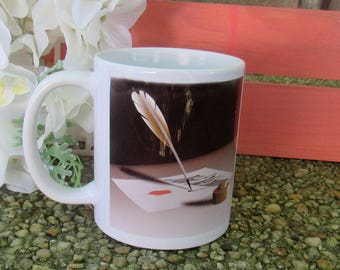 Writer's Mug, Writer's Cup, Mug for Writers, Cup for Writers, Writer's Saying on Mug, Mug with Quill Pen, Mug with Writer Saying