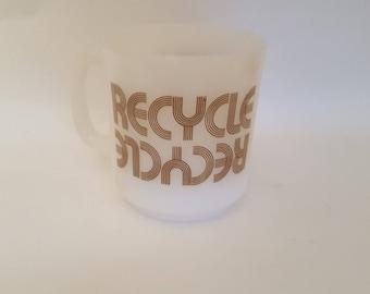 Vintage milk glass recycling mug