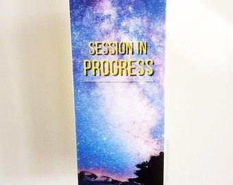 meeting in session door sign