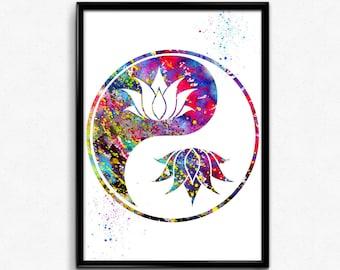 Lotus in Yin Yang, Spirituality, Buddhism, Watercolor, gift, Print, Wall Art (142)