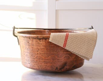French antique copper cauldron