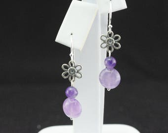 Earrings pearls of amethyst and Silver 925