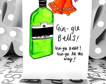 Gin-gle Bells - A6 - Christmas Card