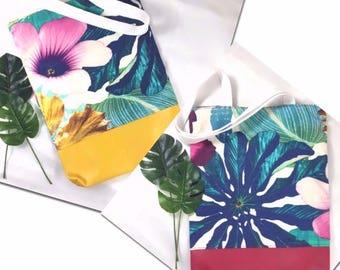 Tote bag Tropical Cotton Leather Vegan Fuchsia EC créa'ture