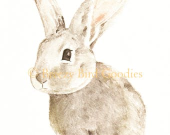 Mr. Breezy Bunny Print, Watercolour Art Print, Pet Portrait, Animal Nursery Art, Family Illustration, Art for Kids, Rabbit Picture