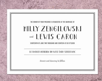 White & Black Wedding Invitation Printable Wedding