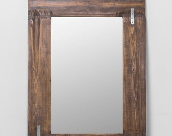 BLET. Frame rustic mirror with Staples.