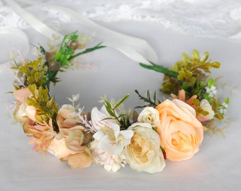 Boho floral crown Wedding flower crown Flower halo Flower girl crown Bridal hair wreath Bridal flower crown Bohemian flower crown Photoprops
