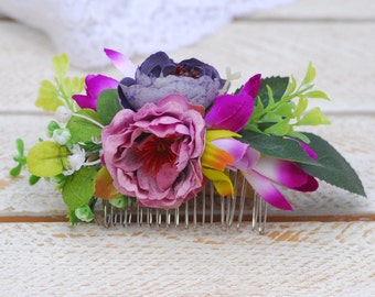 Pink hair piece Bridal hair comb  Floral comb Flower accessory Hair comb Wedding head piece Rustic hair Wedding Flower gift Bridal comb