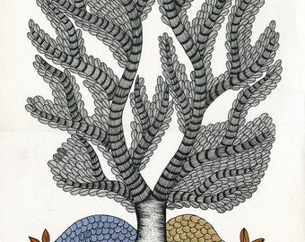 The weight of a Family Tree, Gond Artwork, Original Acrylic.