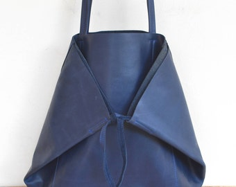 "Large tote bag blue leather bag night ""KEMBOJA"""