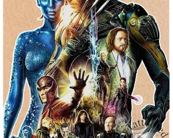 X-Men  - Logan _Wolverine ,Mystic ,Professor X., Beast ,Magneto,Storm   - Fine Art Print - A4/A3