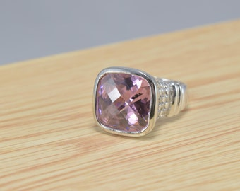 Genuine Pink Sapphire Ring, Engagment Ring, Emerald Cut Ring, Sterling Ring, Silver Ring, Size 8 Ring, Sterling Silver Size 8