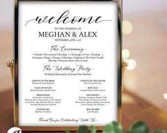 Wedding Program Sign Printable Poster PDF