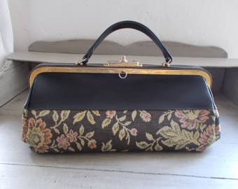 """Vintage French Gladstone Carpet Bag Midwife Bag Doctor Bag from 1950's marked """"Lande Creations Paris Modele Depose"""" Mary Poppins Style Bag"""