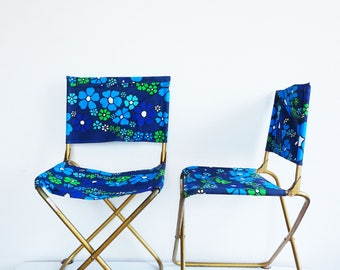 Two blue chairs VINTAGE seventies LAFUMA