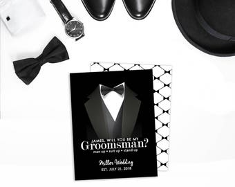 Will You Be My Groomsmen Card - Tux - Best Man Note Card - Asking Groomsmen - Groomsman Gift Thank You Card - Note Card - Be my Best Man