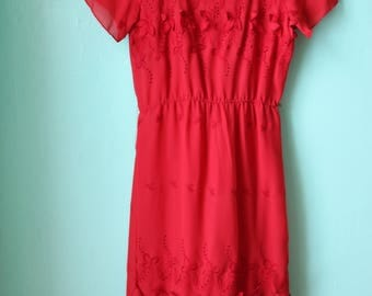 80s Cherry Red Sheer Floral Embroidered Dress