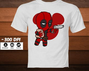 Disney Deadpool Emblem Shirt-Deadpool Iron on Transfer Shirt-Printable Mickey Ears Superhero Symbol Image-DIGITAL DOWNLOAD Deadpool Design