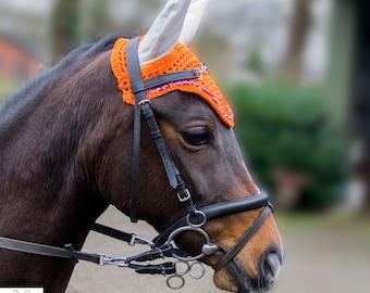 Orange earbonnet horse, orange pony ear bonnet, flyveil orange, red bleu white details, flybonnet, fly bonnet orange