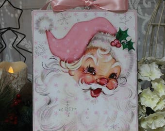 "Vintage Pink Santa"" ~ Shabby Chic ~ Country Cottage ~ style Wall Decor Sign"