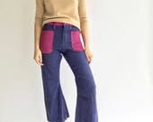 Vintage 29 30 Waist Navy Flare Fuchsia Purple Corduroy Pockets | 70s Seafarer Denim bell bottom kick flare sailor pant high rise high waist