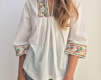 Vintage Colorful Embroider White Cotton Tunic Shirt | Ethnic Folk Embroider Shirt | Bright Embroider Shirt |  Embroider Shirt