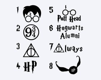 Harry Potter Decal - Harry Potter Vinyl Decal - Pott Head - Hogwarts Alumni - HP - Always - Snitch - Deathly Hallows - Platform 9 3/4