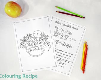 Colouring Illustration for Kids - Cooking with children - Printable coloring pages - vegan recipe - Rocket Smoothie Bowl -  fairy Trixilie