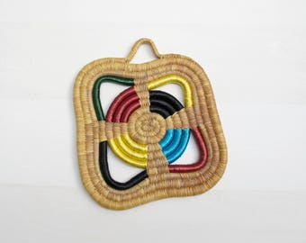 Large Woven Trivet, Straw Wall Decor