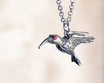 "Colibri pendant. Pendant ""Нummingbird"" from albata with gemstone on chain"