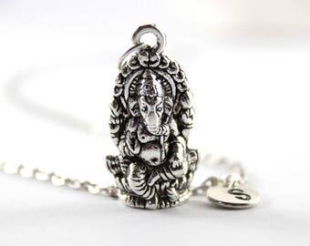 GANESH charm necklace, Ganesh charm, personalized necklace, initial necklace, initial hand stamped, personalized neckalce, initial jewelry