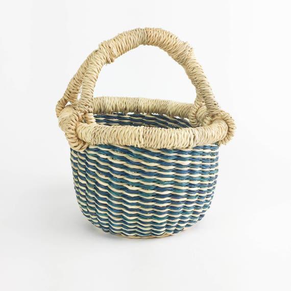 Mini Bolga Basket - Natural, Blue & Red