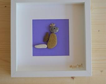 Dragon beach pebble framed art