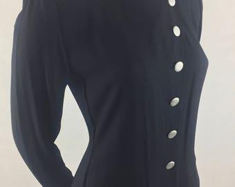 Vintage Virgo II Long Black Dress with Mandarin Collar and Asymmetrical Button Closure/Size 8 Medium