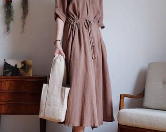 2Colors Linen cotton wrap dress - Wrap Linen Dress-Natural Linen Dress- Linen Kimono Dress t-Summer Dress-Long Linen Dress