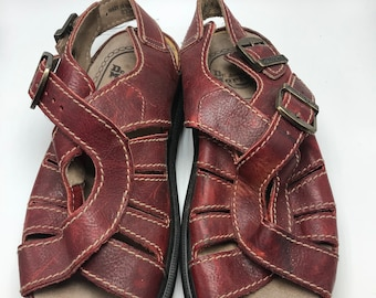 vintage 90's Dr. Marten sandals maroon colored woven wedge buckle sandals size 8
