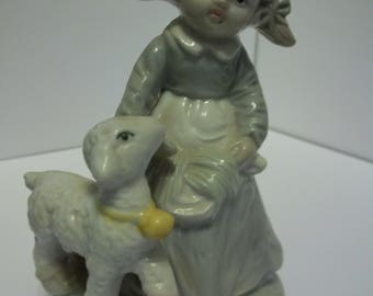 Vintage Girl with pigtails with Lamb Made in Taiwan Figurine