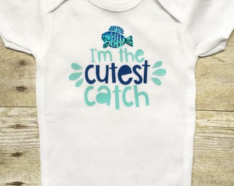 Baby Onesie, Newborn Baby Clothes, Baby Outfit, Cutest Catch Onesie, Fishing Onesie, Newborn Onesie, Baby Boy Shirts, Baby Shower Gift