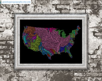 View River Maps By GrasshopperGeography On Etsy - Colorful map of watersheds in us