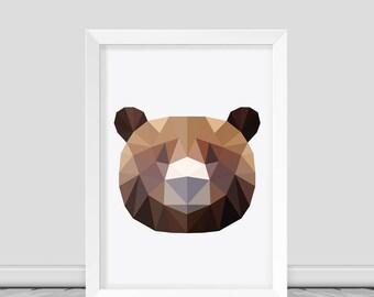 Bear Print Bear Print Art Bear Wall Art Bear Poster Geometric Bear Print  Low poly BEAR print Printable Animal Art Bear Wall Printable